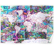 world map collage 3 Poster