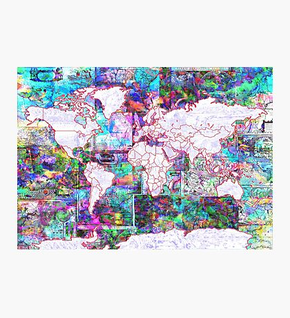 world map collage 3 Photographic Print