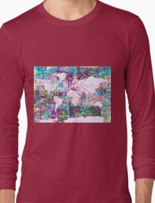 world map collage 3 Long Sleeve T-Shirt