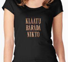 Ash vs Evil Dead - Klaatu Barada Nikto Women's Fitted Scoop T-Shirt