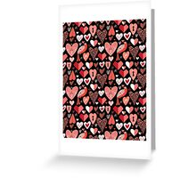 pattern of bright hearts Greeting Card