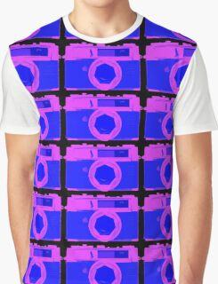 YASHICA Illustration Pink & Blue Graphic T-Shirt