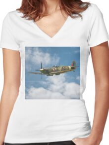 Spitfire in The Clouds Women's Fitted V-Neck T-Shirt