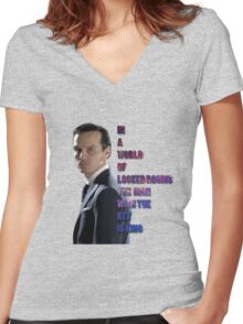 In a World Of Locked Rooms... Women's Fitted V-Neck T-Shirt
