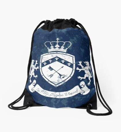 Coat of arms - shield with crown, key and arrow, two standing lions at sides Drawstring Bag