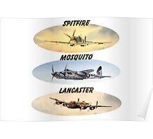 Spitfire Mosquito Lancaster Collages With Banners Poster