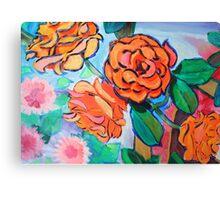 Orange Rose Bush Painting Canvas Print