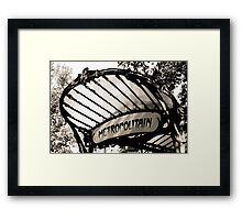 Original Metro sign and entrance, Paris Framed Print
