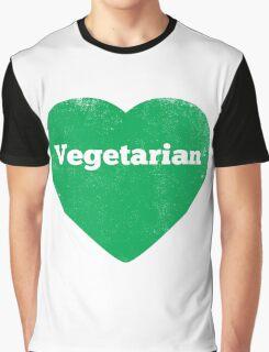 Vegetarian Heart - Distressed Graphic T-Shirt