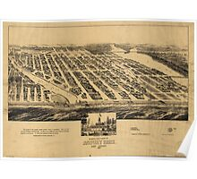 Bird's eye view Map of Asbury Park New Jersey (1881) Poster