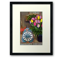 Old clock and tulips Framed Print