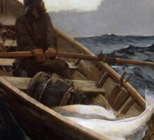 The Fog Warning (Halibut Fishing) by Winslow Homer (1885) Sticker