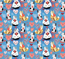 pattern of cat lovers hearts by Tanor