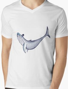 Classy Mr. Whale (in a Top Hat) Mens V-Neck T-Shirt