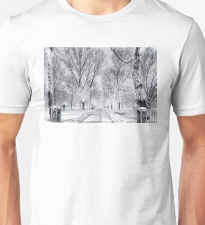 Snow's path down Comm Ave Unisex T-Shirt