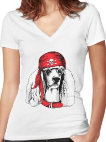 hipster dog Women's Fitted V-Neck T-Shirt