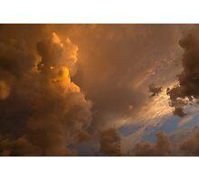 Storm Clouds Sunset - Dramatic Oranges Photographic Print