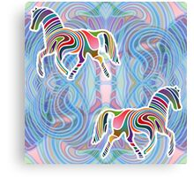 Two Horses Trotting in a Psychedelic Void Canvas Print