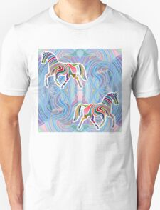 Two Horses Trotting in a Psychedelic Void T-Shirt