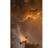 Storm Clouds Sunset - Dramatic Oranges - a Vertical View Photographic Print