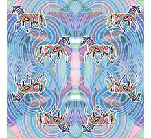 Two Horses Trotting in a Psychedelic Infinity Photographic Print