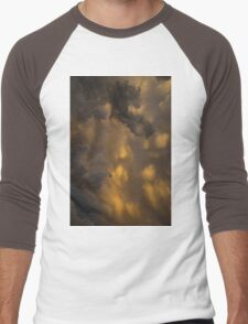 Storm Clouds Sunset - Ominous Grays and Yellows - a Vertical View Men's Baseball ¾ T-Shirt