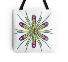 Abstract Kawaii Octopus Girls in Gold and Maroon Tote Bag