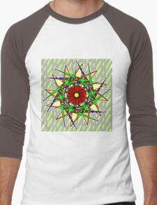 Abstract Pinwheel Triangles in Orange, Green, Red Men's Baseball ¾ T-Shirt
