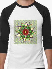 Abstract Pinwheel Triangles in Orange, Green, Red Men's Baseball ¾ T-Shirt