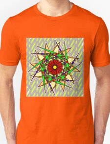 Abstract Pinwheel Triangles in Orange, Green, Red Unisex T-Shirt