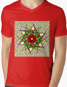 Abstract Pinwheel Triangles in Orange, Green, Red Mens V-Neck T-Shirt