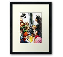 super smash bros link cloud mario kirby DK Framed Print