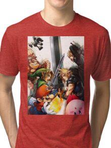 super smash bros link cloud mario kirby DK Tri-blend T-Shirt