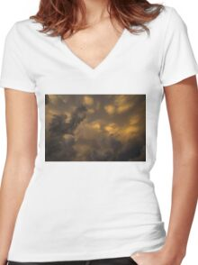 Storm Clouds Sunset - Ominous Grays and Yellows Women's Fitted V-Neck T-Shirt