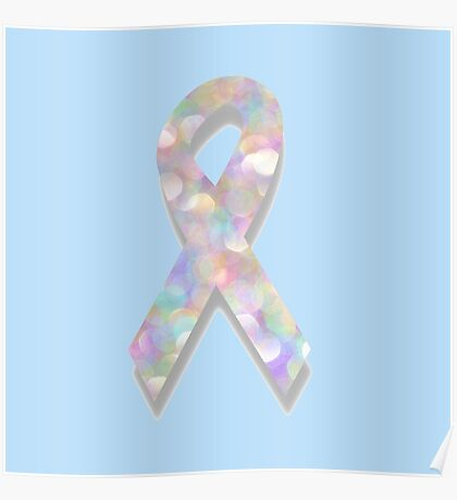 pearl lung cancer ribbon Poster