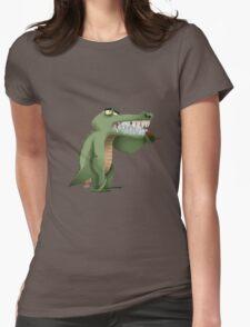 Brushing teeth crocodile Womens Fitted T-Shirt