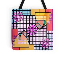Abstract Flowers, Grids, and Badges in Pink, Blue, Gold Tote Bag