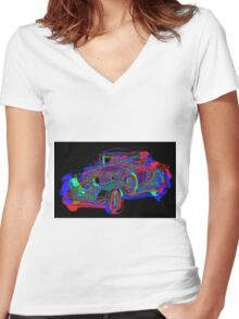 Neon 1930 Cadillac Women's Fitted V-Neck T-Shirt