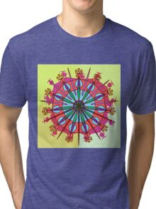 Abstract Spiked Flower Wheel in Blue, Yellow, Pink, Purple Tri-blend T-Shirt