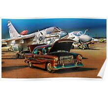 Chevy Bel Air and Military Planes Poster