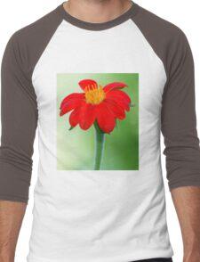 Zinnia Red and Yellow Flower Men's Baseball ¾ T-Shirt