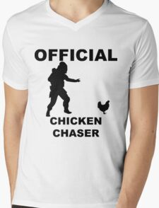 Chicken Chasher Mens V-Neck T-Shirt