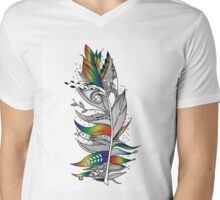 Rainbow Feather Mens V-Neck T-Shirt