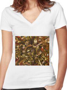 Golden Burst Women's Fitted V-Neck T-Shirt