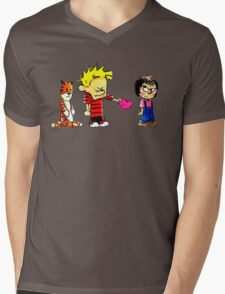 Calvin Hobbes Love Mens V-Neck T-Shirt