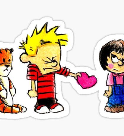 Calvin Hobbes Love Sticker