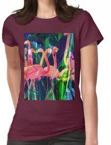Flamingo Dance Womens Fitted T-Shirt
