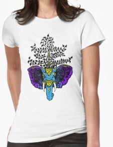 Elephant Life Tree Womens Fitted T-Shirt
