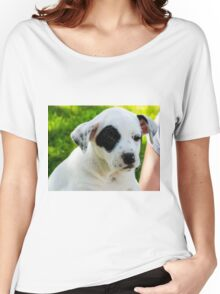 Cute Puppy with eye patch Women's Relaxed Fit T-Shirt