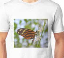 Butterfly on Twig with White Flowers Unisex T-Shirt